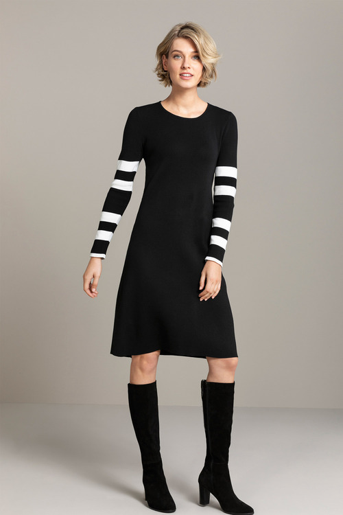 Emerge Knit Stripe Long Sleeve Dress