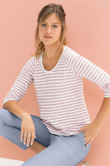 Emerge Cotton Slub V Neck Top