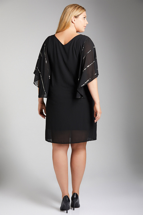 Plus Size - Sara Sequin Batwing Dress