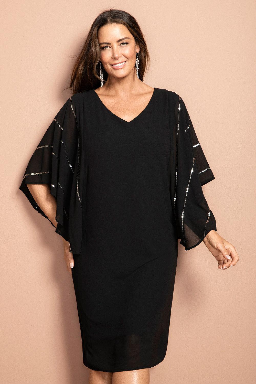 Sara Sequin Batwing Dress