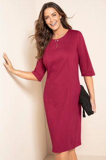 Plus Size - Sara Pearl Detail Ponte Dress - 223853