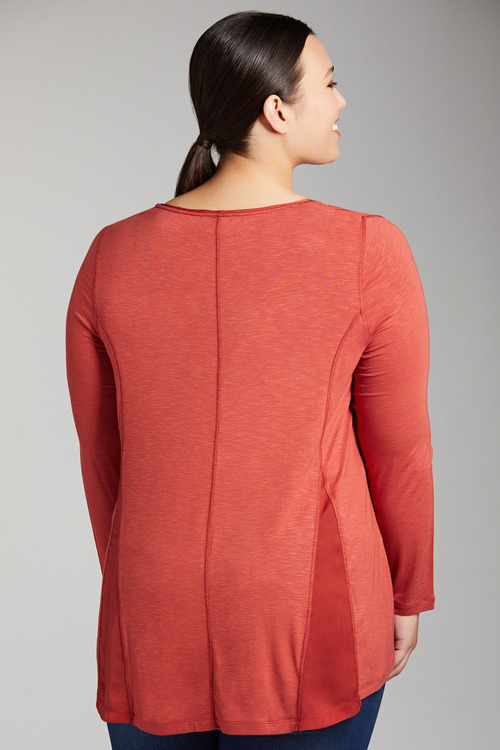 Plus Size - Sara Long Sleeve Panel Top