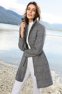 Capture Wool Blend Check Coat