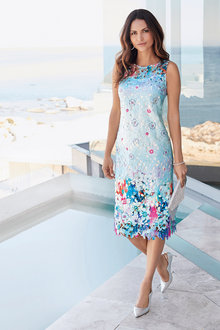 Kaleidoscope Floral Print Lace Dress - 223890