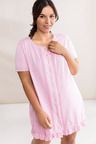 Plus Size - Sara Button Front Short Sleeve Nightie