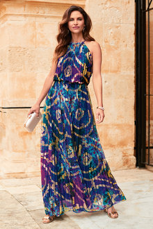 Kaleidoscope Printed Pleat Maxi Dress