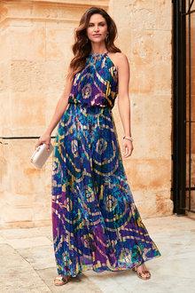 Kaleidoscope Printed Pleat Maxi Dress - 223921