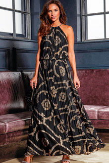 Kaleidoscope Printed Pleat Maxi Dress - 223921