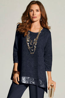 Kaleidoscope Sequin Trim Top - 223934