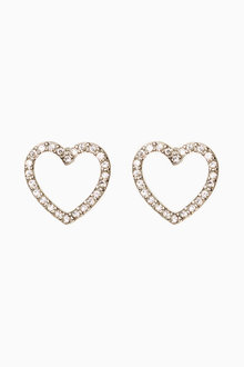 Next SILVER TONE DIAMANTE EFFECT HEART STUD EARRINGS - 224051