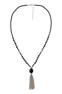 Amber Rose Oval Tassel Necklace