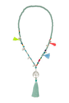 Amber Rose Hippie Tree Of Life Tassel Necklace