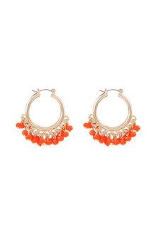 Amber Rose Seashore Bead Drop Hoop Earrings