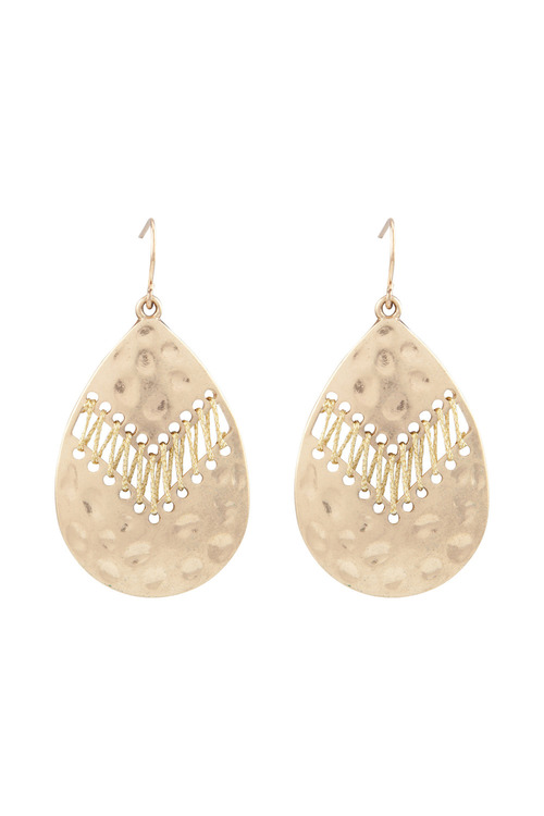 Amber Rose Battered Tear Drop Earring