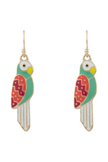 Amber Rose Enamel Parrot Earrings