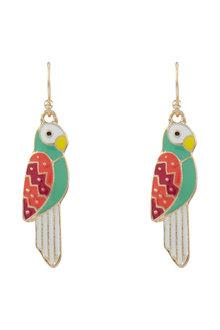 Amber Rose Enamel Parrot Earrings