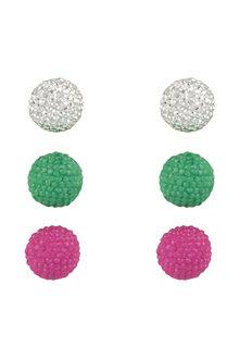 Amber Rose Cristallised Stud Earring Set