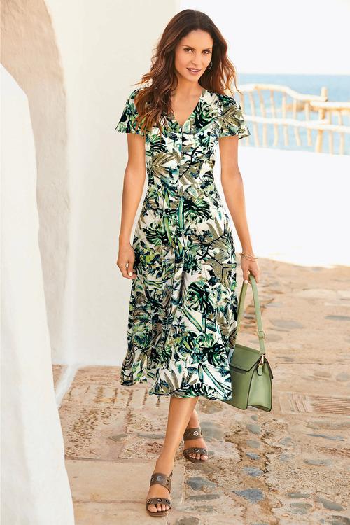 Kaleidoscope Leaf Print Dress