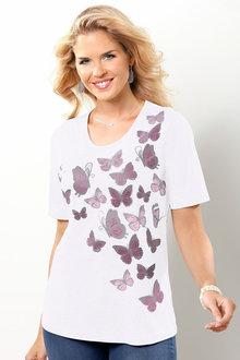 Capture European Butterfly Print Tee Shirt