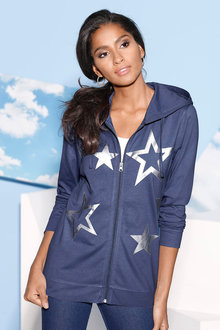 Capture European Silver Star Print Hoodie