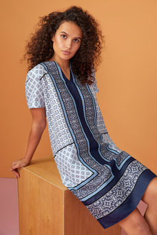 Capture Linen Scarf Print Dress - 224487