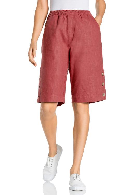 Capture Linen Button Detail Long Shorts
