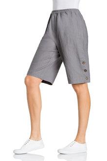 Capture Linen Button Detail Long Shorts - 224511