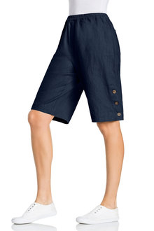 Capture Linen Button Detail Long Shorts