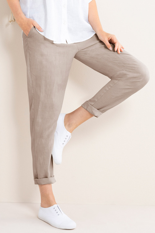 Capture Linen Pull On Cuffed Pant