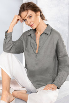 Grace Hill 1/2 Placket Tab Sleeve Shirt - 224521