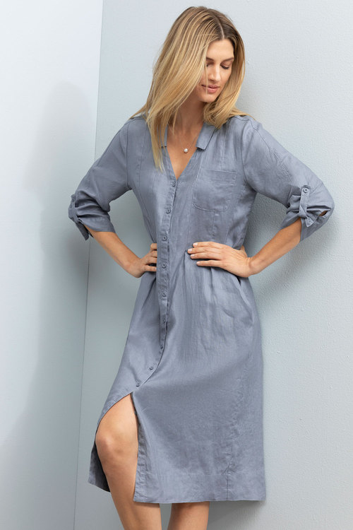b92a0e531bc3b2 Grace Hill Linen Panelled Midi Dress Online | Shop EziBuy