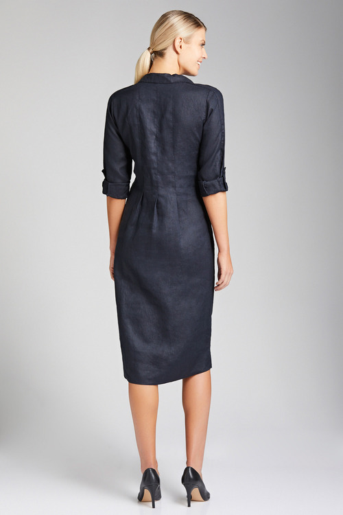 Grace Hill Linen Panelled Midi Dress