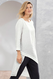 Grace Hill Linen Stripe Hi Low Tunic