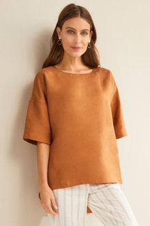 Grace Hill Button Back Linen Top - 224525