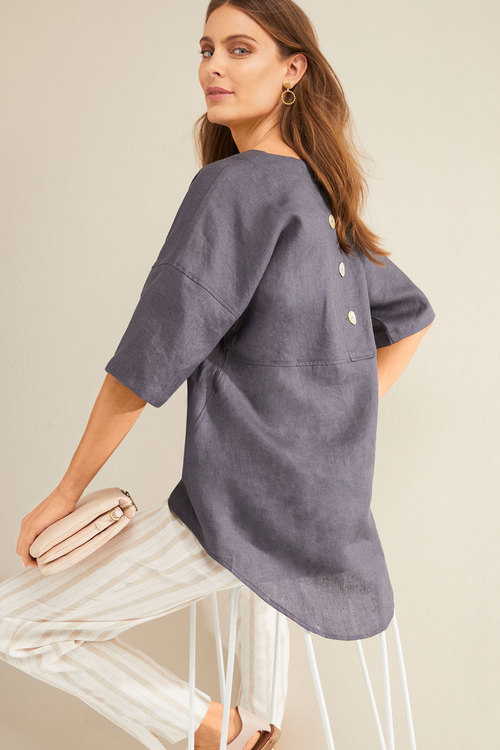 Grace Hill Button Back Linen Top