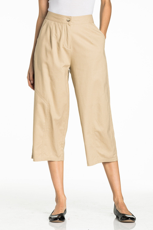 Grace Hill Wide Leg Linen Crop