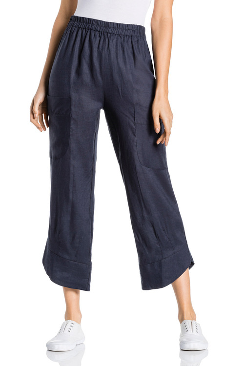 Grace Hill Linen Pocket Crop Pant
