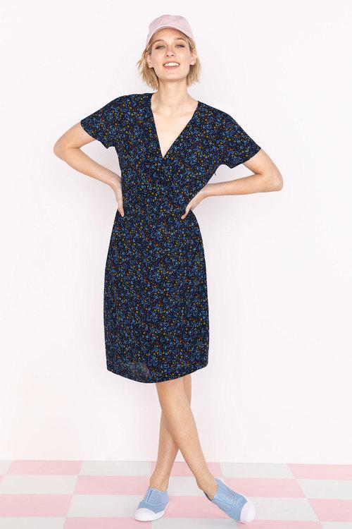 Capture Pleat Front Short Sleeve Dress