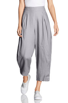 Grace Hill Linen Pleat Front Cuff Crop Pant