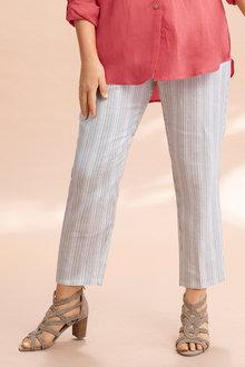 Plus Size - Sara Linen Stripe Pant - 224549
