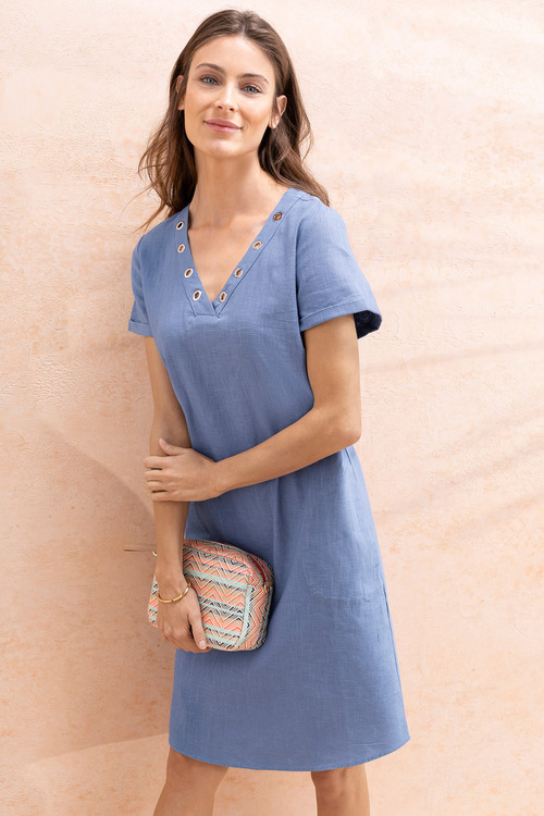 Capture Linen V Neck Eyelet Dress