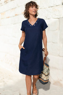 Capture Linen V Neck Eyelet Dress - 224560