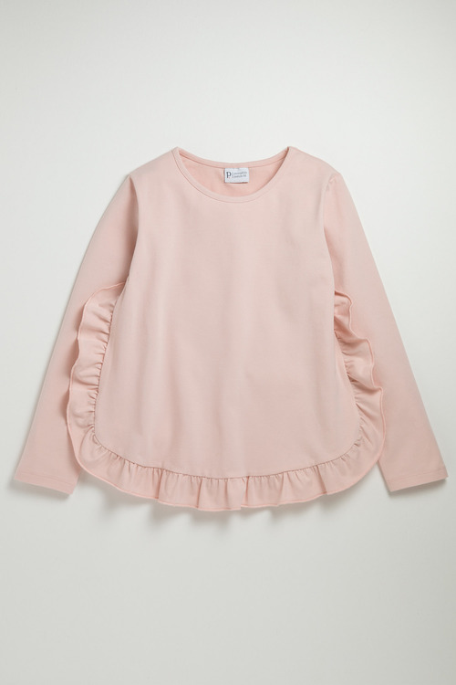 Pumpkin Patch Long Sleeve Top with Side Ruffles