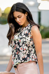 Urban Pleated Floral Blouse