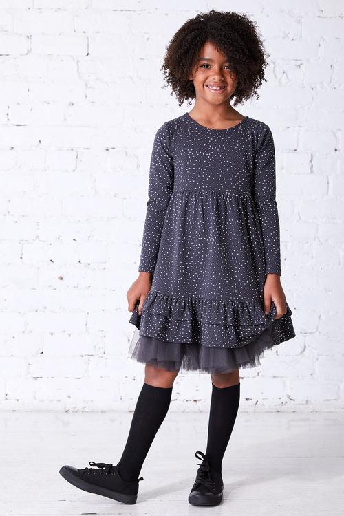 Pumpkin Patch Long Sleeve Dress with Frill Hem