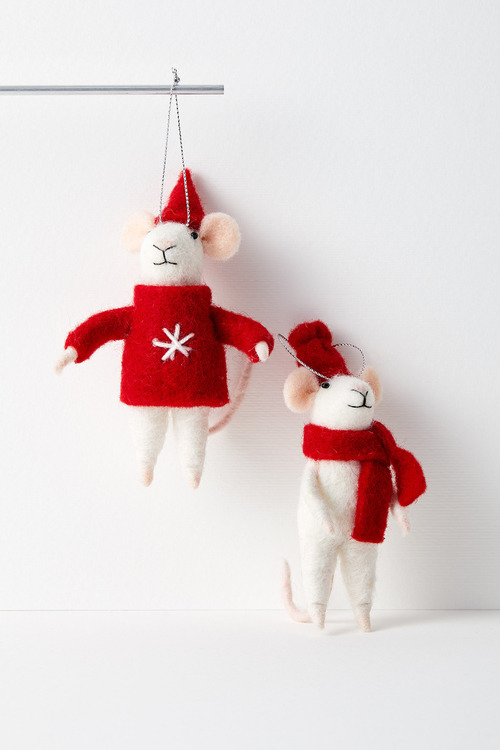 Santa's Mice Elves Hanging Decorations Set of Two