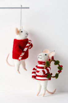 Santa's Candy Mice Elves Hanging Decorations Set of Two