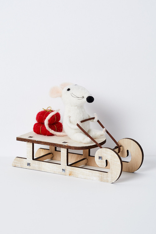 Myrtle Mouse on a Sleigh Ornament