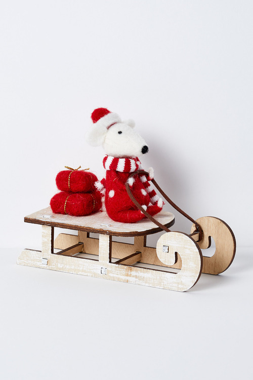 Morris Mouse on a Sleigh Ornament