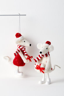 Merry Mice Hanging Decoration Set of Two